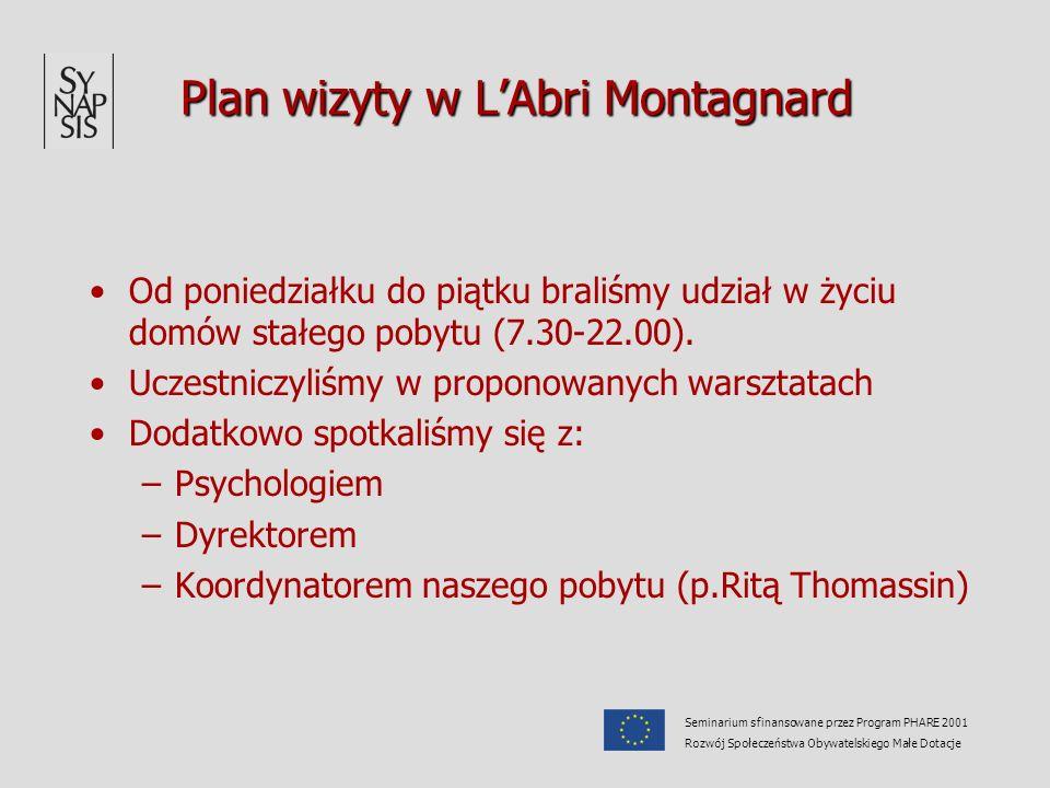 Plan wizyty w LAbri Montagnard Od poniedziałku do piątku braliśmy udział w życiu domów stałego pobytu (7.30-22.00). Uczestniczyliśmy w proponowanych w