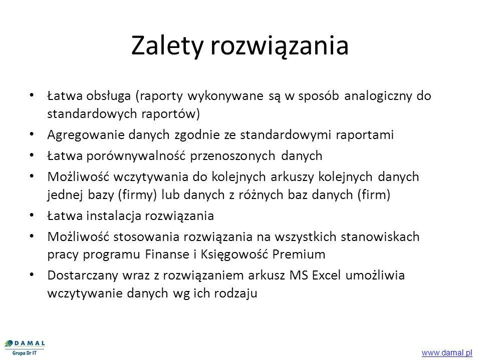 Dostęp do raportów eksportujących dane dla obrotów i zapisów dla wzorca kont oraz słowników, bilansu i rachunku wyników odbywa się z tej samej lokalizacji w której znajdują się standardowe raporty, Eksportowane dane zapisywane są we wskazanej lokalizacji Łatwa obsługa www.damal.pl