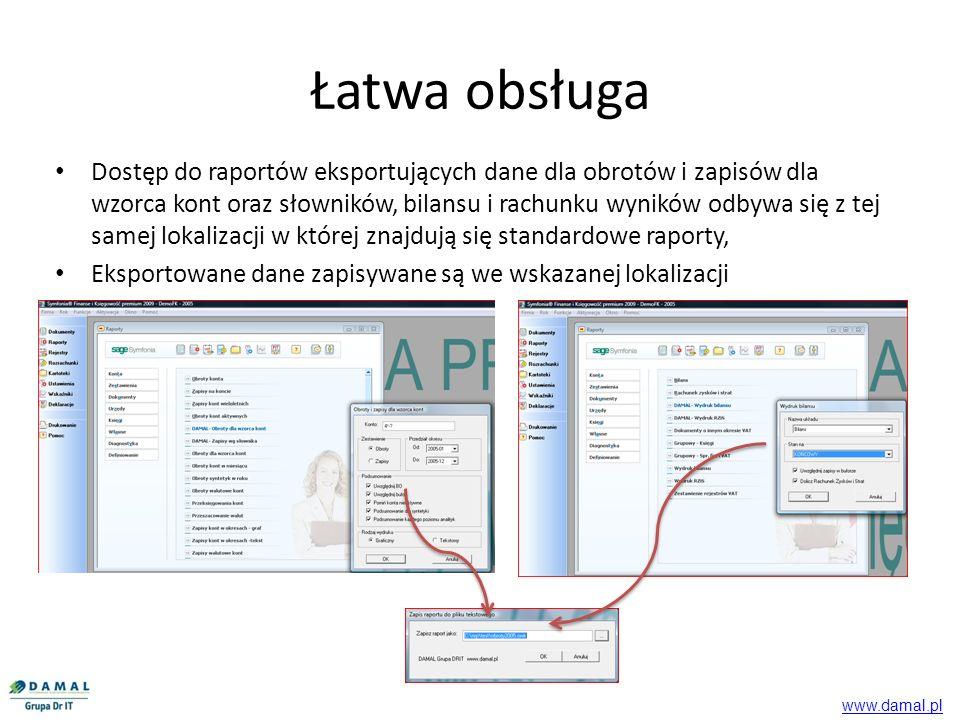 Dostęp do raportów eksportujących dane dla obrotów i zapisów dla wzorca kont oraz słowników, bilansu i rachunku wyników odbywa się z tej samej lokaliz