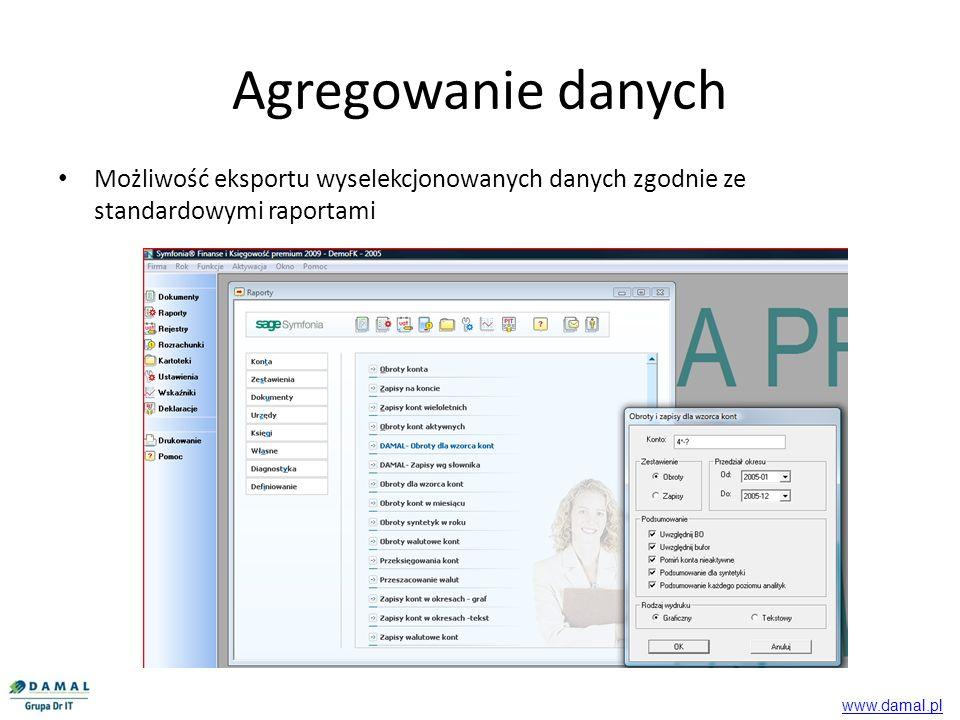 Agregowanie danych Możliwość eksportu wyselekcjonowanych danych zgodnie ze standardowymi raportami www.damal.pl