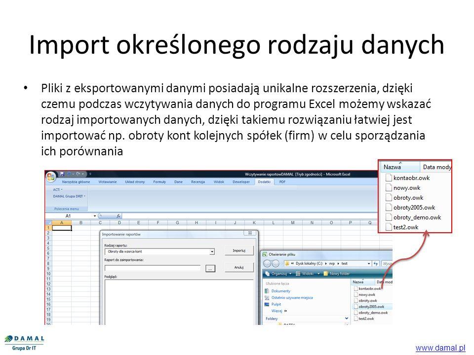 Export danych przeznaczony jest do współpracy z Symfonią Finanse i Księgowość w wersji Premium Export danych Symfonia Finanse i Księgowość w wersjach: 2008, 2008x, 2009 Export wykorzystuje struktury i mechanizmy udostępniane przez Symfonia Finanse i Księgowość Premium Dostarczony arkusz z wbudowanymi makrami wymaga MS Excel 2003 lub 2007 www.damal.pl Tel: 0 22 832 37 37 GSM 0 693 820 470 Fax: 0 22 833 25 20 Dane techniczne www.damal.pl