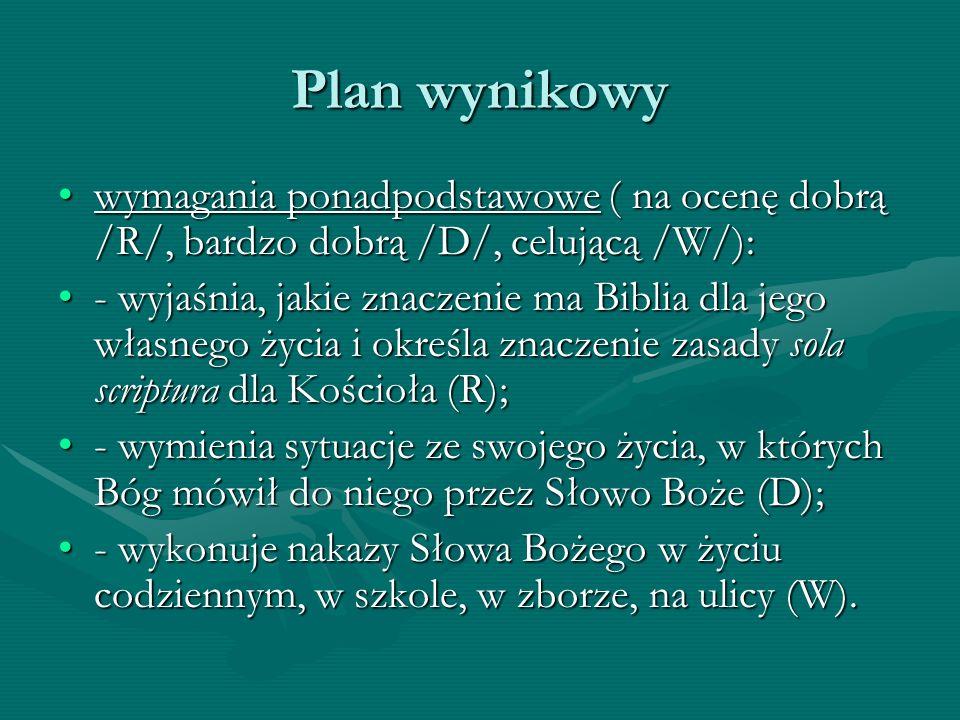 Plan wynikowy wymagania ponadpodstawowe ( na ocenę dobrą /R/, bardzo dobrą /D/, celującą /W/):wymagania ponadpodstawowe ( na ocenę dobrą /R/, bardzo d