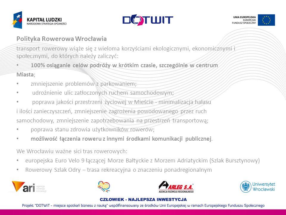 Polityka Rowerowa Wrocławia transport rowerowy wiąże się z wieloma korzyściami ekologicznymi, ekonomicznymi i społecznymi, do których należy zaliczyć: