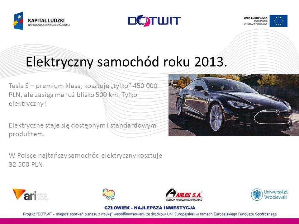 Elektryczny samochód roku 2013. Tesla S – premium klasa, kosztuje tylko 450 000 PLN, ale zasięg ma już blisko 500 km. Tylko elektryczny ! Elektryczne