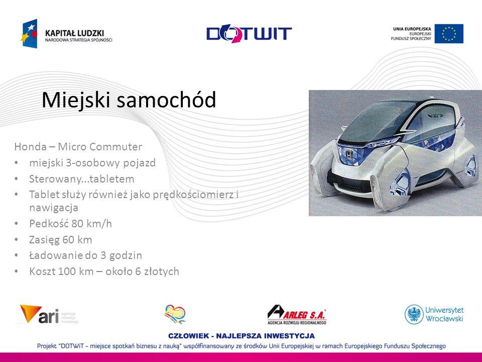 Miejski samochód Honda – Micro Commuter miejski 3-osobowy pojazd Sterowany...tabletem Tablet służy również jako prędkościomierz i nawigacja Pedkość 80