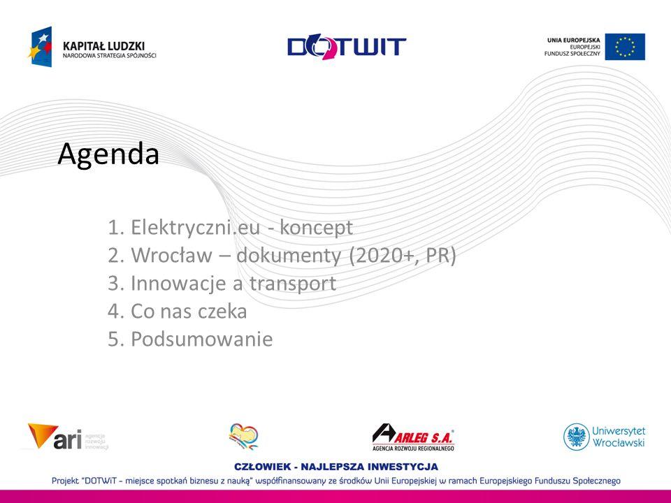 Agenda 1. Elektryczni.eu - koncept 2. Wrocław – dokumenty (2020+, PR) 3. Innowacje a transport 4. Co nas czeka 5. Podsumowanie