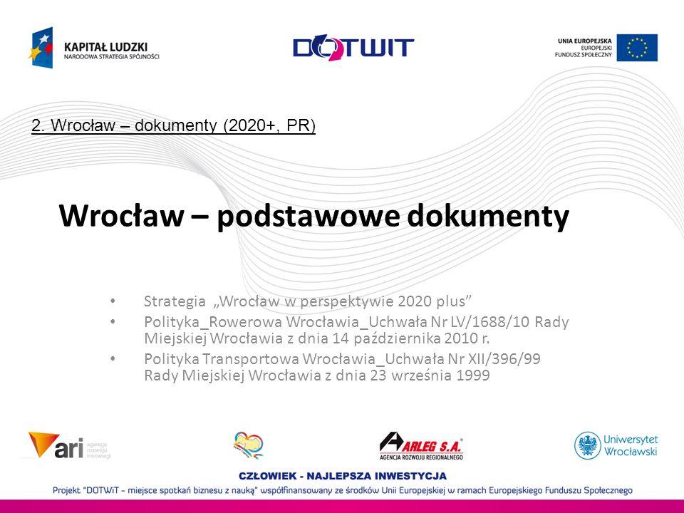 Wrocław – podstawowe dokumenty Strategia Wrocław w perspektywie 2020 plus Polityka_Rowerowa Wrocławia_Uchwała Nr LV/1688/10 Rady Miejskiej Wrocławia z