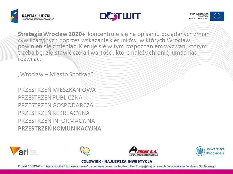 Strategia Wrocław 2020+ PRZESTRZEŃ KOMUNIKACYJNA: Bezwzględna eliminacja ciężkiego transportu z centrum miasta.