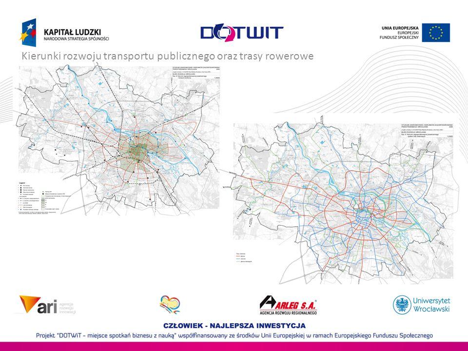 Polityka Rowerowa Wrocławia CELE STRATEGICZNE Głównym celem strategicznym Polityki Rowerowej Wrocławia w perspektywie długoterminowej jest osiągnięcie co najmniej 15% udziału (100 000 rowerzystów) ruchu rowerowego w ogólnej liczbie podróży realizowanych w Mieście w 2020 roku (co najmniej 10% udziału w 2015 r, ale 4% udziału (30 000 rowerzystów) w 2012 r.) W konsekwencji realizowane będą strategiczne cele towarzyszące: poprawa bezpieczeństwa ruchu; redukcja zagrożeń motoryzacyjnych; zwiększenie szybkości przemieszczania się w Mieście; popularyzacja proekologicznych zachowań transportowych mieszkańców Miasta.