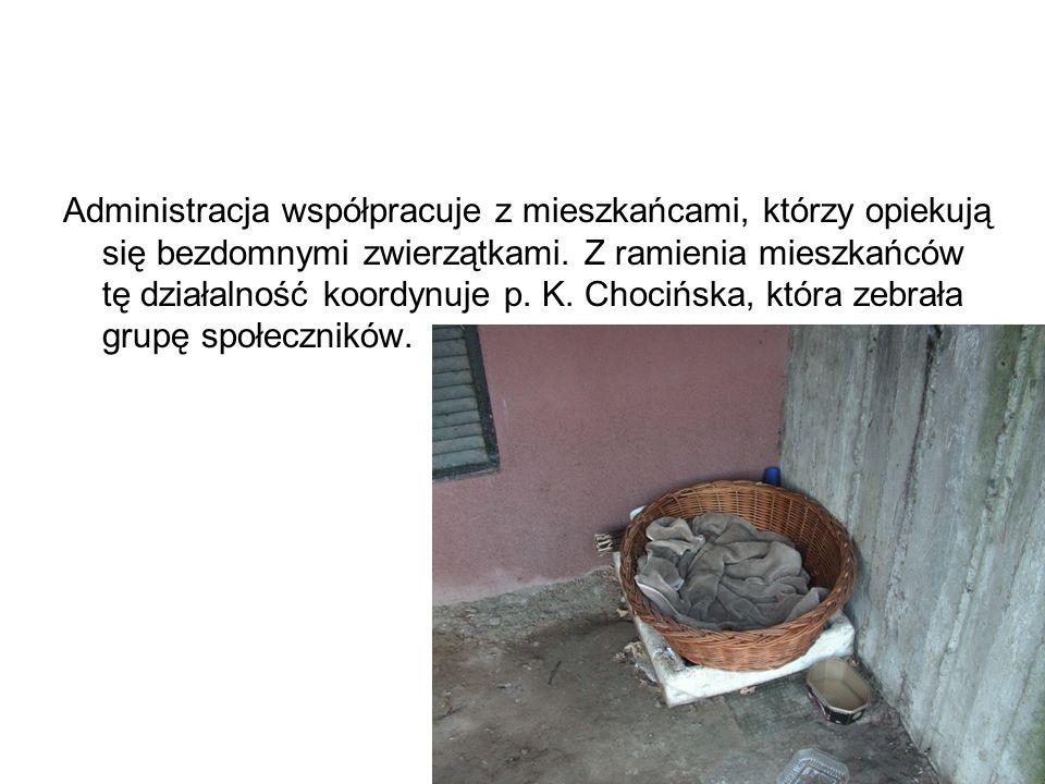 Administracja współpracuje z mieszkańcami, którzy opiekują się bezdomnymi zwierzątkami. Z ramienia mieszkańców tę działalność koordynuje p. K. Chocińs