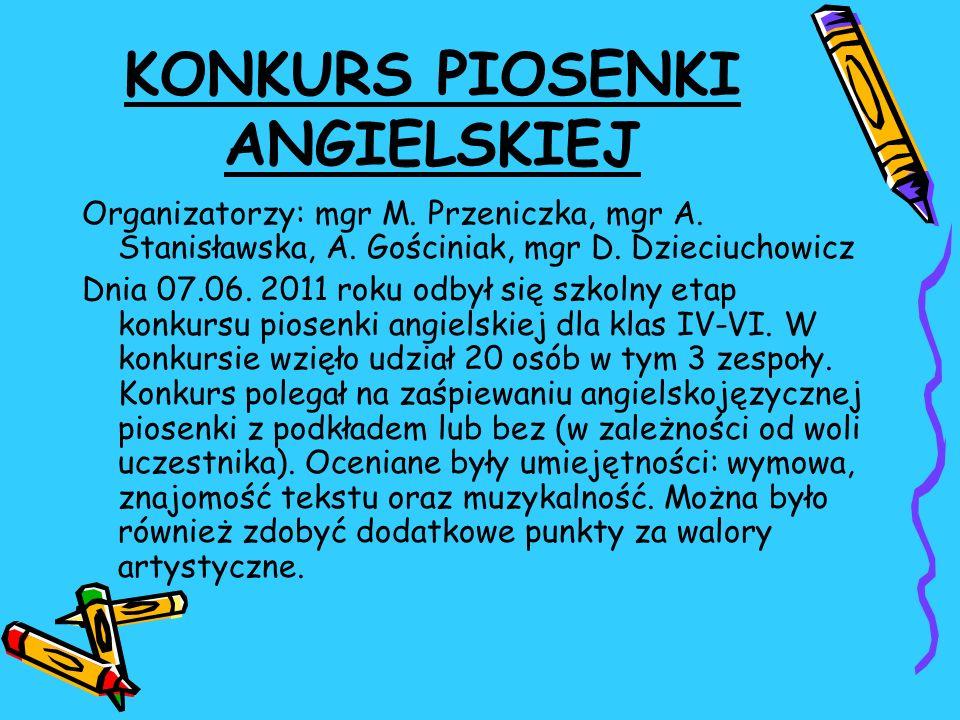 KONKURS PIOSENKI ANGIELSKIEJ Organizatorzy: mgr M. Przeniczka, mgr A. Stanisławska, A. Gościniak, mgr D. Dzieciuchowicz Dnia 07.06. 2011 roku odbył si