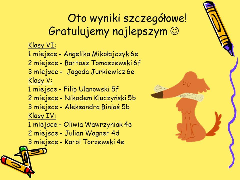 Oto wyniki szczegółowe! Gratulujemy najlepszym Klasy VI: 1 miejsce - Angelika Mikołajczyk 6e 2 miejsce - Bartosz Tomaszewski 6f 3 miejsce - Jagoda Jur
