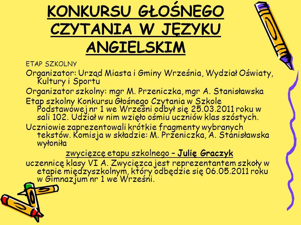 KONKURS PIOSENKI ANGIELSKIEJ Organizatorzy: mgr M.