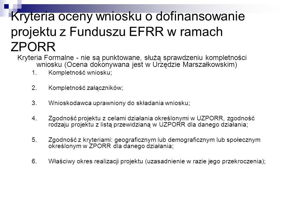 7.Zgodność udziału % dofinansowania z EFRR z maksymalnym limitem przewidzianym w UZPORR 8.