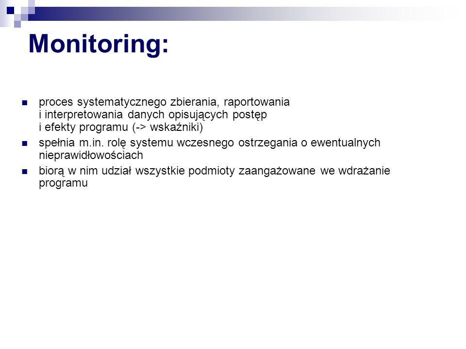 Monitoring ZPORR – zadania (MF, IP) INSTYTUCJA PŁATNICZA (MF, IP) 1.prowadzi monitoring finansowy wdrażania ZPORR, którego przedmiotem są: zobowiązania finansowe (przestrzeganie limitów), płynność dostępu środków (na rachunkach bankowych w momencie płatności), terminowość ich wydatkowania (-> zasada wygasania środków, n+2), 2.sporządza kwartalne i roczne raporty o postępie wydatków i ewentualnych nieprawidłowościach finansowych na potrzeby Instytucji Zarządzającej PWW i Komitetu Monitorującego PWW, 3.zarządza systemem informatycznym SIMIK.