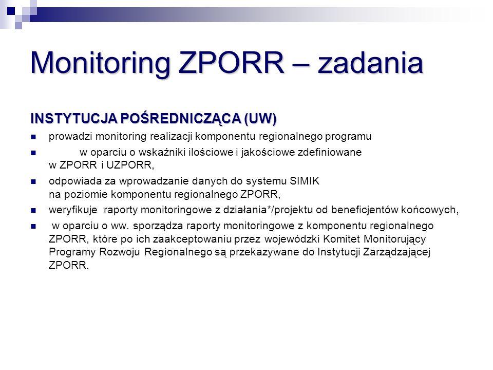 Monitoring ZPORR – zadania BENEFICJENT KOŃCOWY BENEFICJENT KOŃCOWY (INSTYTUCJA WDRAŻAJĄCA* lub ODBIORCA OSTATECZNY ) (INSTYTUCJA WDRAŻAJĄCA* lub ODBIORCA OSTATECZNY ) monitoruje wdrażanie poszczególnych projektów, w tym przygotowuje okresowe, roczne i końcowe raporty monitoringowe z działania*/projektu i przedkłada go Instytucji Pośredniczącej odpowiada za wprowadzanie danych do systemu SIMIK na poziomie działania*