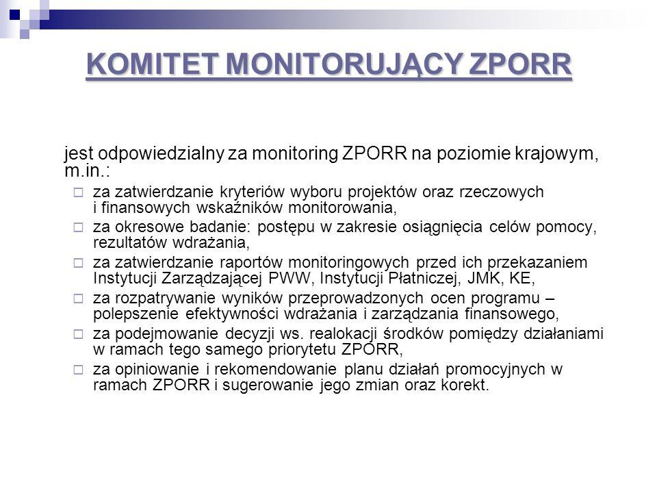 wojewódzki KOMITET MONITORUJĄCY PRR wojewódzki KOMITET MONITORUJĄCY PRR jest odpowiedzialny za monitoring ZPORR na poziomie województwa, w tym za: okresowe badanie postępu, efektywności oraz skuteczności działań i projektów realizowanych w ramach komponentu regionalnego ZPORR, w szczególności na podstawie wskaźników monitoringowych określonych w ZPORR i UZPORR; zatwierdzanie raportów okresowych, rocznych oraz raportów na zakończenie realizacji komponentu regionalnego ZPORR przed ich przekazaniem do Instytucji Zarządzającej ZPORR; opiniowanie i rekomendowanie KM ZPORR propozycji zmian zapisów ZPORR i w UZPORR, które umożliwią efektywniejsze wdrażanie i lepsze zarządzanie finansowe, w tym zmian i przesunięć alokacji pomiędzy działaniami w ramach tego samego priorytetu ZPORR; opiniowanie i rekomendowanie planu działań promocyjnych w ramach komponentu regionalnego ZPORR i sugerowanie jego zmian oraz korekt.
