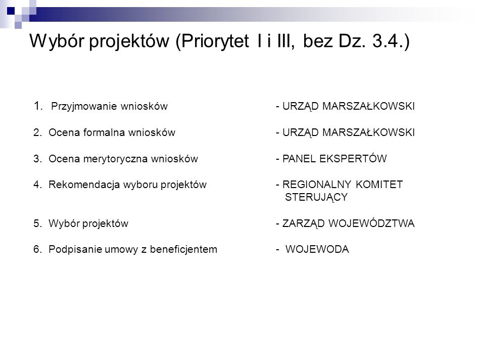 Wybór projektów (Priorytet II i Dz.3.4.) 1. Przyjmowanie wniosków- BENEFICJENT KOŃCOWY 2.
