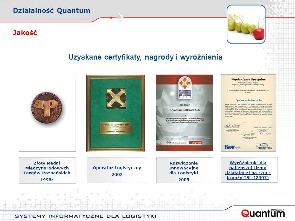 Jakość Złoty Medal Międzynarodowych Targów Poznańskich 1998r Operator Logistyczny 2002 Rozwiązanie Innowacyjne dla Logistyki 2005 Uzyskane certyfikaty, nagrody i wyróżnienia Działalność Quantum Wyróżnienie dla najlepszej firmy działającej na rzecz branży TSL (2007)