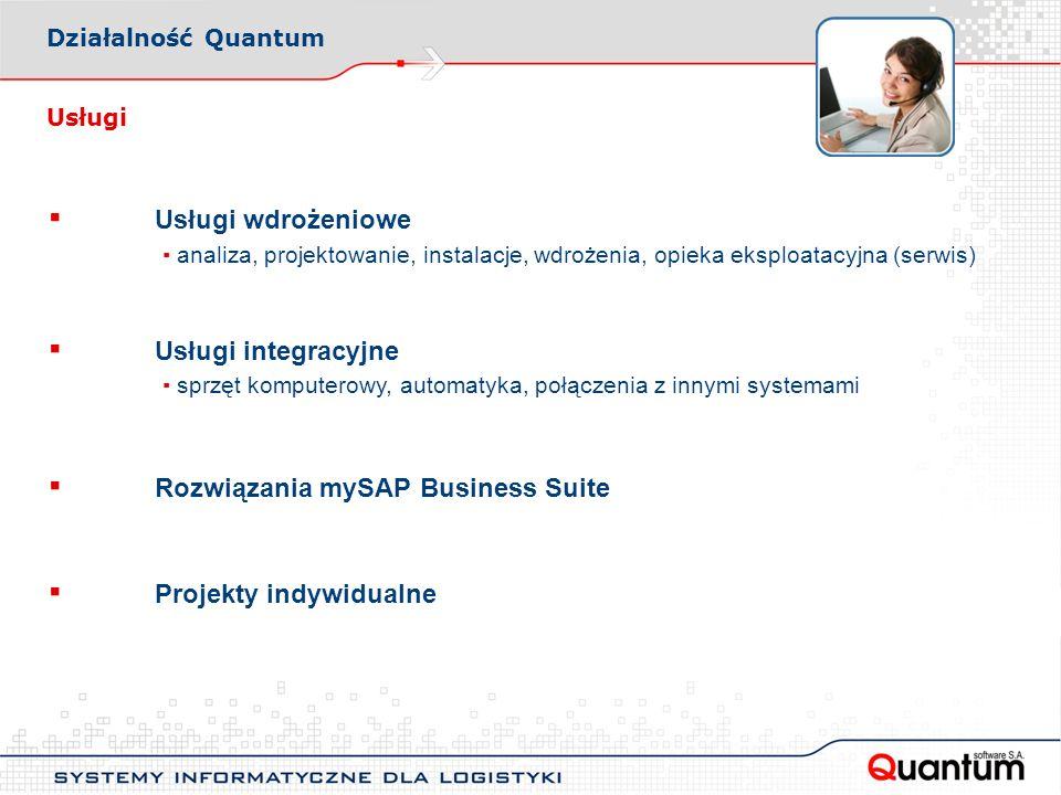 Usługi Usługi wdrożeniowe analiza, projektowanie, instalacje, wdrożenia, opieka eksploatacyjna (serwis) Usługi integracyjne sprzęt komputerowy, automatyka, połączenia z innymi systemami Rozwiązania mySAP Business Suite Projekty indywidualne Działalność Quantum