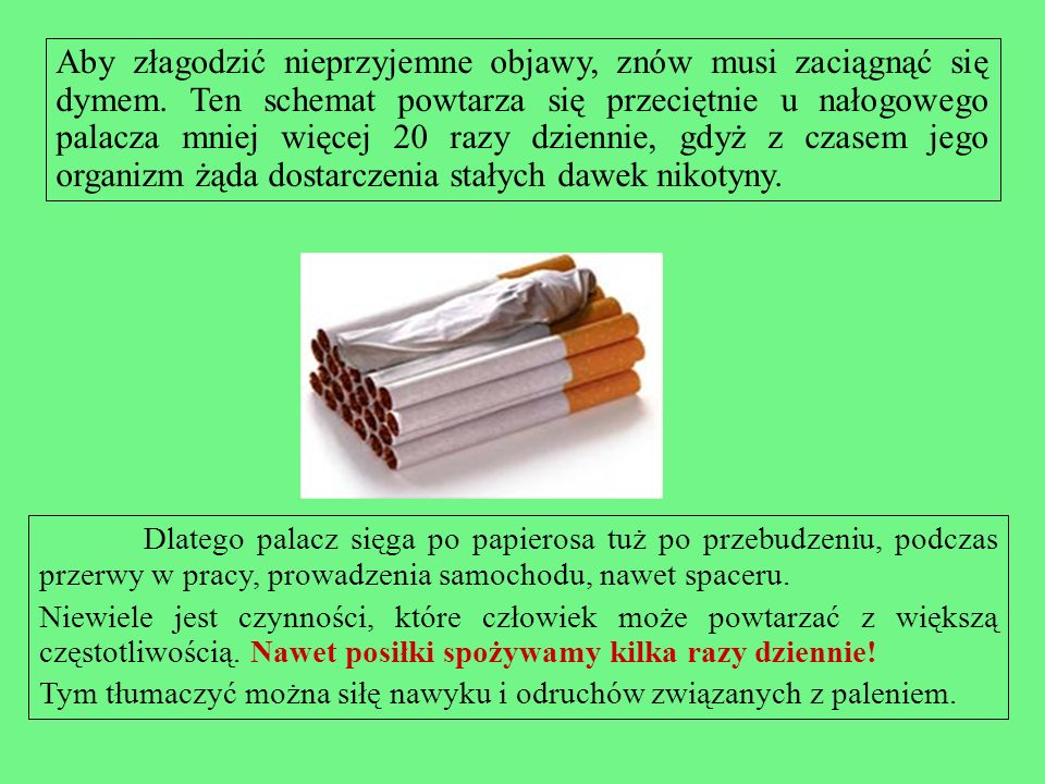 Jak działa nikotyna? Nikotyna dociera do mózgu palacza juz po 10 sekundach od chwili zaciągnięcia się przez niego dymem. Tam pobudza wydzielanie dopam