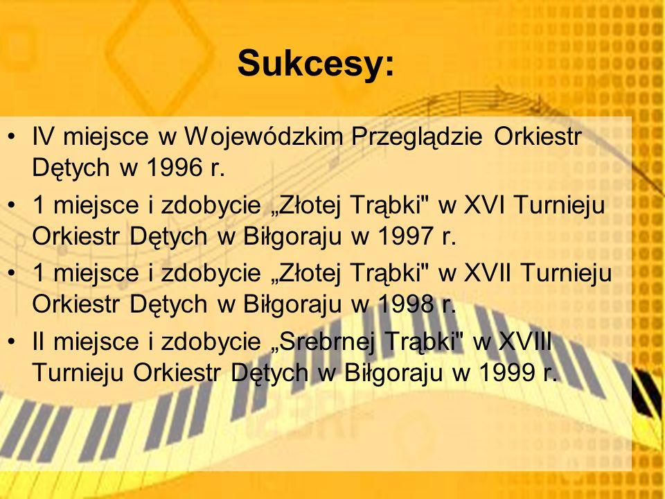 Sukcesy: IV miejsce w Wojewódzkim Przeglądzie Orkiestr Dętych w 1996 r.