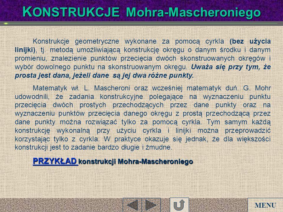 K ONSTRUKCJE Mohra-Mascheroniego Konstrukcje geometryczne wykonane za pomocą cyrkla (bez użycia linijki), tj. metodą umożliwiającą konstrukcję okręgu