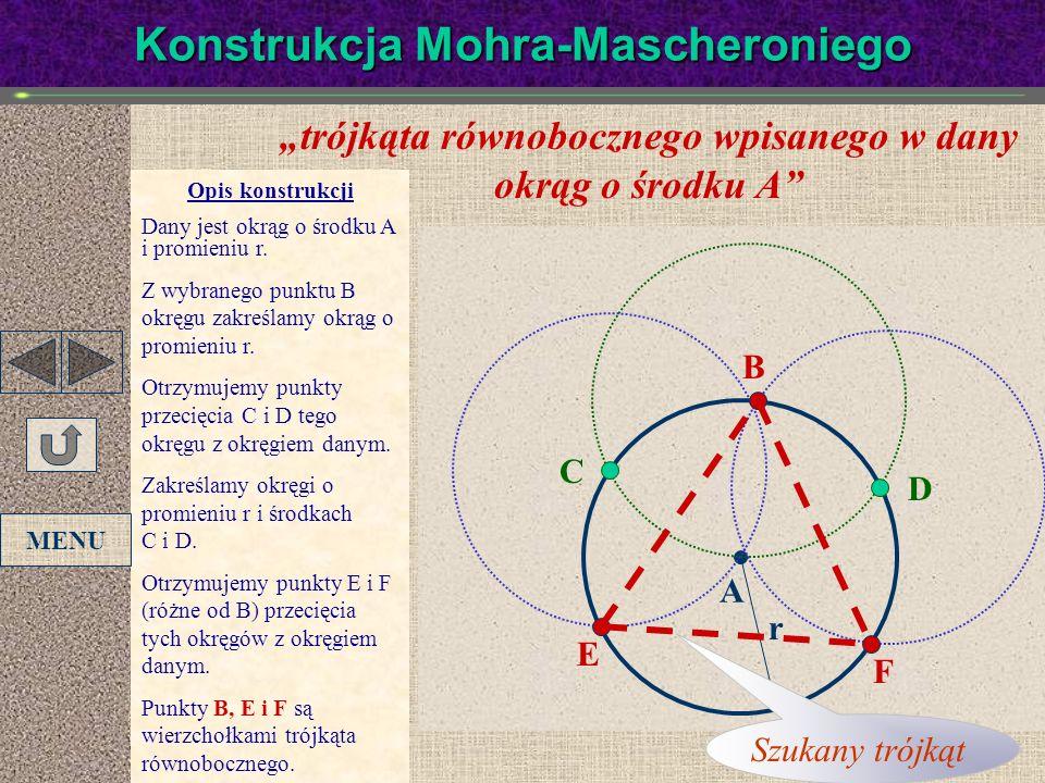 trójkąta równobocznego wpisanego w dany okrąg o środku A Opis konstrukcji Dany jest okrąg o środku A i promieniu r. Z wybranego punktu B okręgu zakreś