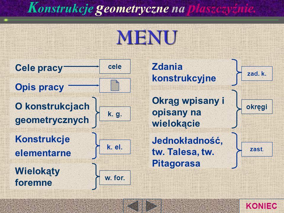 K onstrukcje g eometryczne na p łaszczyźnie.MENU Cele pracy Opis pracy O konstrukcjach geometrycznych Konstrukcje elementarne Wielokąty foremne Zdania