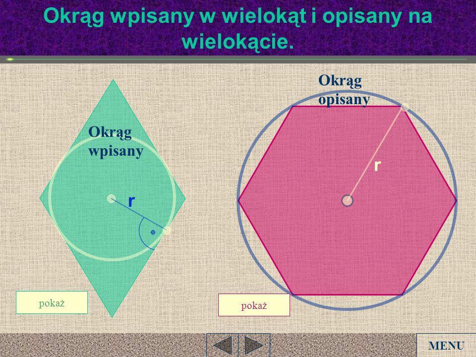Okrąg wpisany w wielokąt i opisany na wielokącie. pokaż Okrąg wpisany Okrąg opisany r r MENU