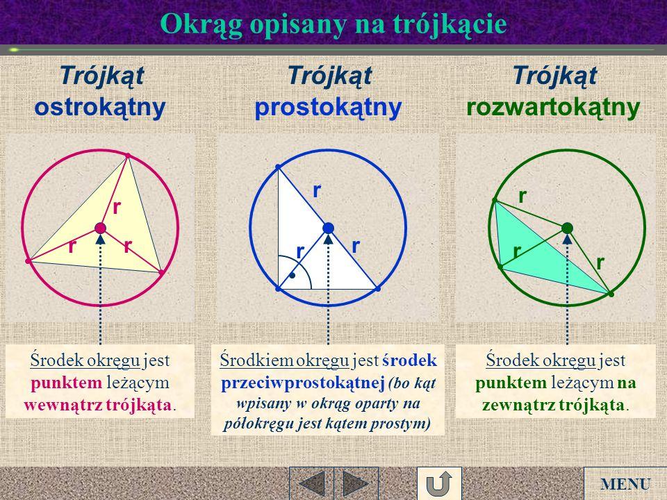 Okrąg opisany na trójkącie r r Środkiem okręgu jest środek przeciwprostokątnej (bo kąt wpisany w okrąg oparty na półokręgu jest kątem prostym) r r r r