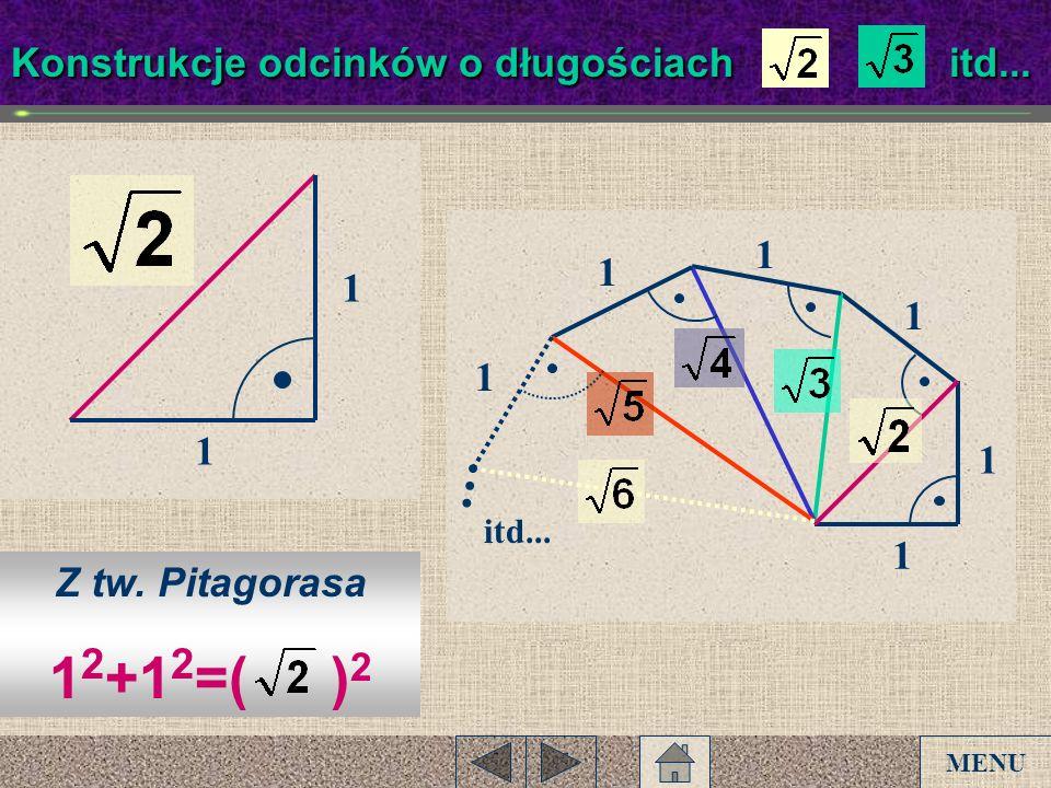 1 Konstrukcje odcinków o długościach, itd... 1 1 1 1 Z tw. Pitagorasa 1 2 +1 2 =( ) 2 1 1 1 itd... MENU
