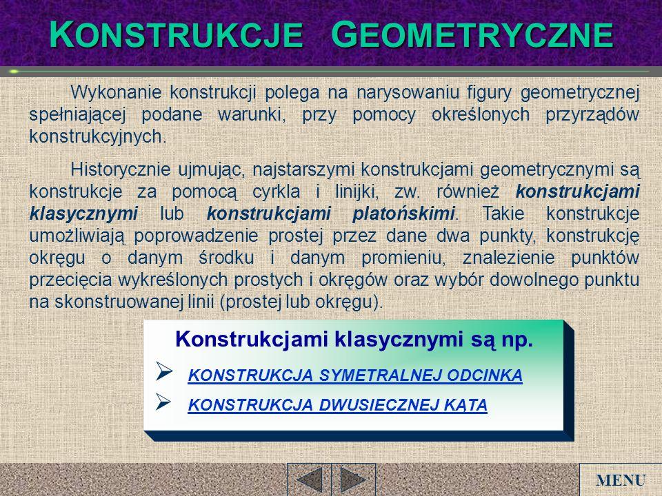 K ONSTRUKCJE G EOMETRYCZNE Wykonanie konstrukcji polega na narysowaniu figury geometrycznej spełniającej podane warunki, przy pomocy określonych przyr