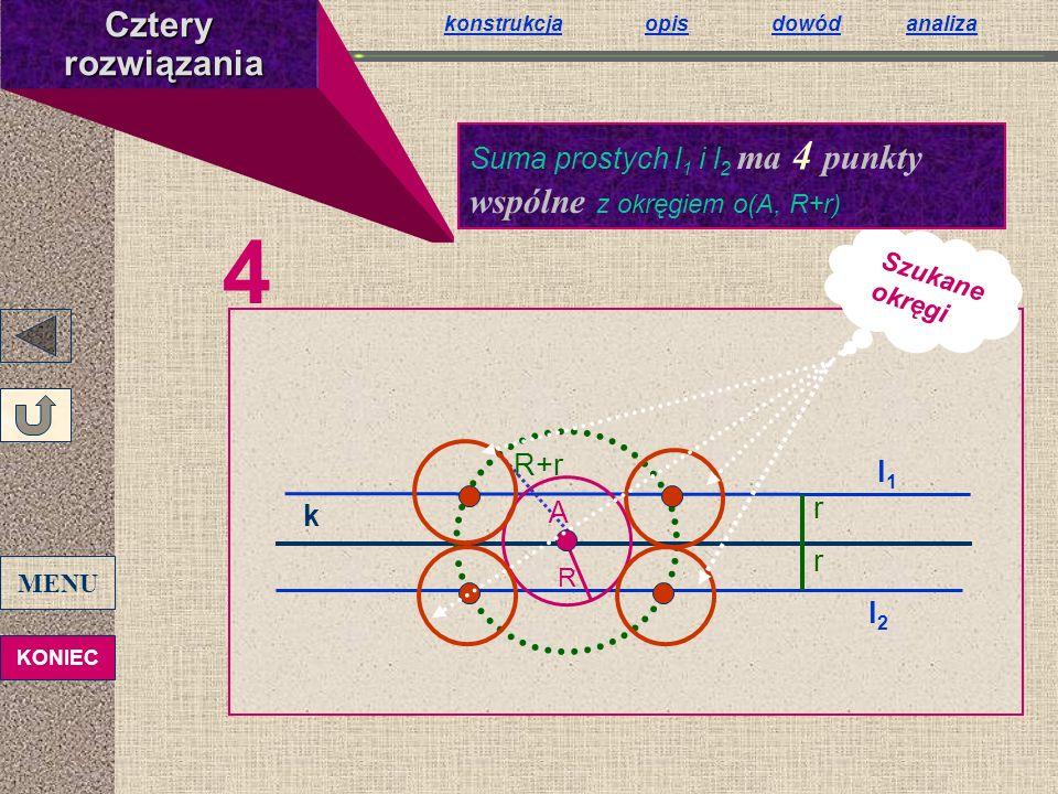 4 k r r l1l1 l2l2 R R+r A Szukane okręgiCztery rozwiązania rozwiązania Suma prostych l 1 i l 2 ma 4 punkty wspólne z okręgiem o(A, R+r) konstrukcjakon