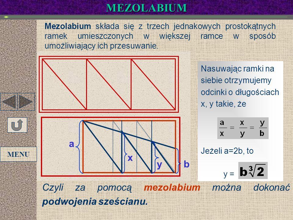 MEZOLABIUM Mezolabium składa się z trzech jednakowych prostokątnych ramek umieszczonych w większej ramce w sposób umożliwiający ich przesuwanie. Nasuw