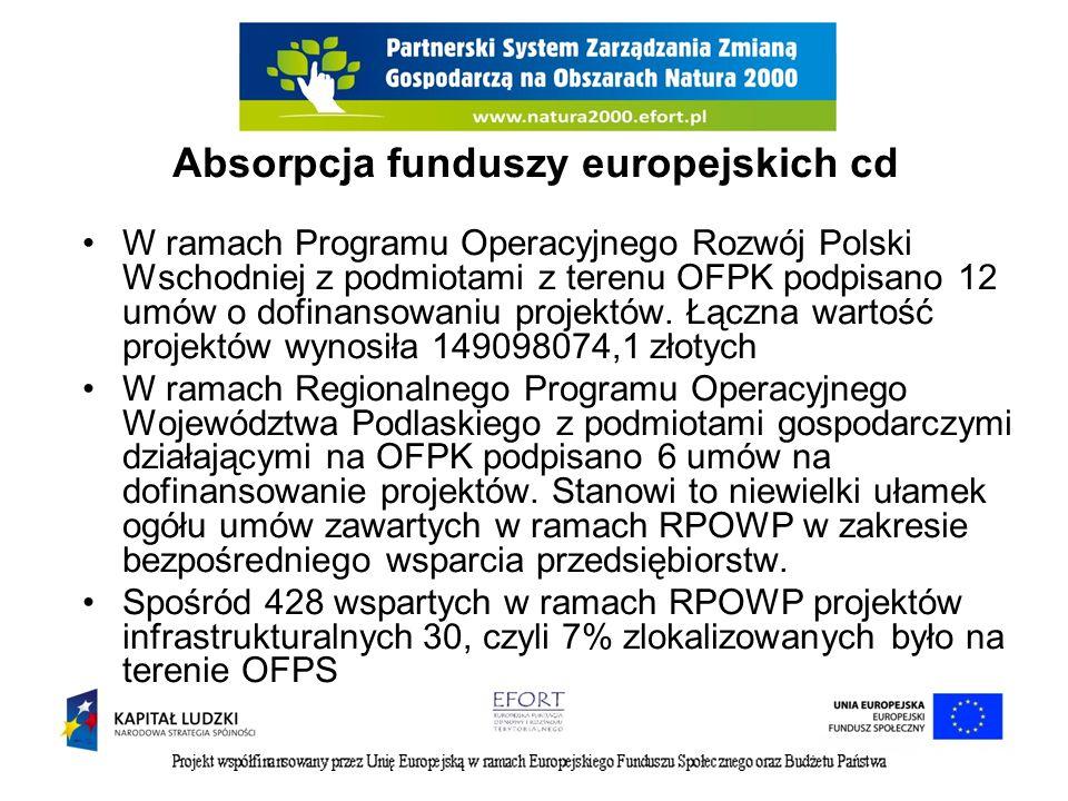 Absorpcja funduszy europejskich cd W ramach Programu Operacyjnego Rozwój Polski Wschodniej z podmiotami z terenu OFPK podpisano 12 umów o dofinansowan