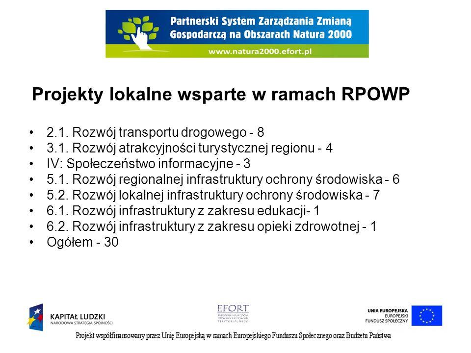 Projekty lokalne wsparte w ramach RPOWP 2.1. Rozwój transportu drogowego - 8 3.1. Rozwój atrakcyjności turystycznej regionu - 4 IV: Społeczeństwo info