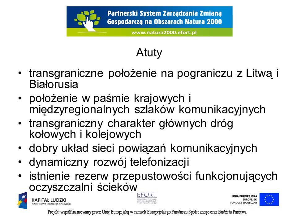 Atuty transgraniczne położenie na pograniczu z Litwą i Białorusia położenie w paśmie krajowych i międzyregionalnych szlaków komunikacyjnych transgrani