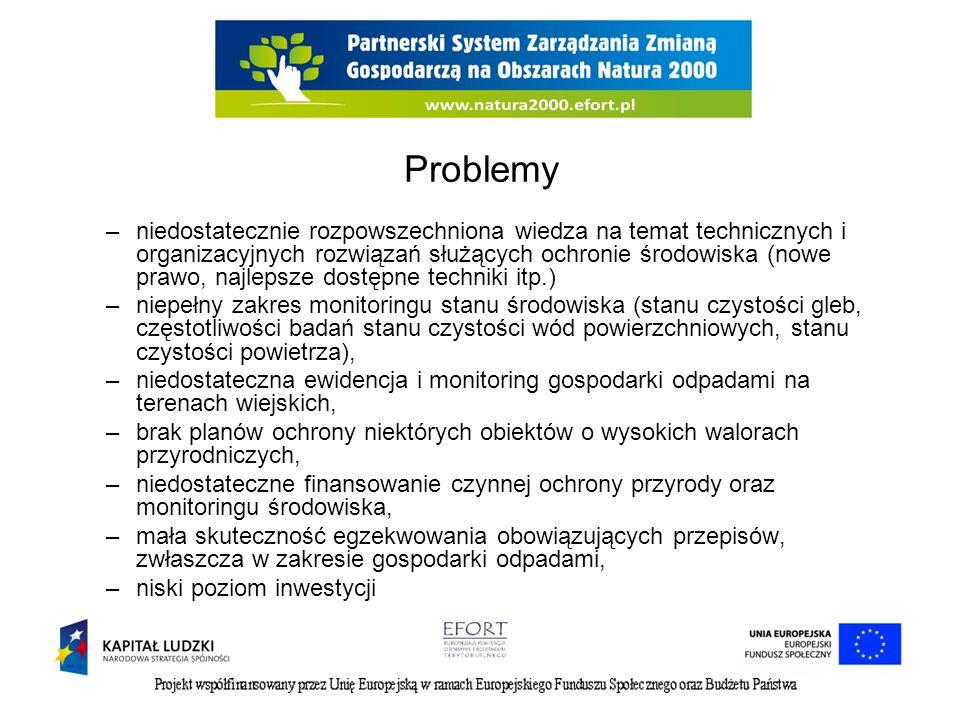 Problemy –niedostatecznie rozpowszechniona wiedza na temat technicznych i organizacyjnych rozwiązań służących ochronie środowiska (nowe prawo, najleps