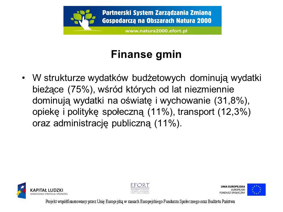 Finanse gmin W strukturze wydatków budżetowych dominują wydatki bieżące (75%), wśród których od lat niezmiennie dominują wydatki na oświatę i wychowan