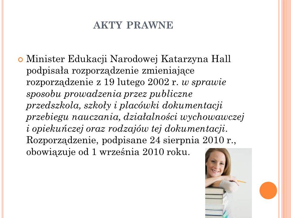 AKTY PRAWNE Minister Edukacji Narodowej Katarzyna Hall podpisała rozporządzenie zmieniające rozporządzenie z 19 lutego 2002 r. w sprawie sposobu prowa