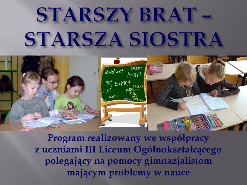 Program realizowany we współpracy z uczniami III Liceum Ogólnokształcącego polegający na pomocy gimnazjalistom mającym problemy w nauce
