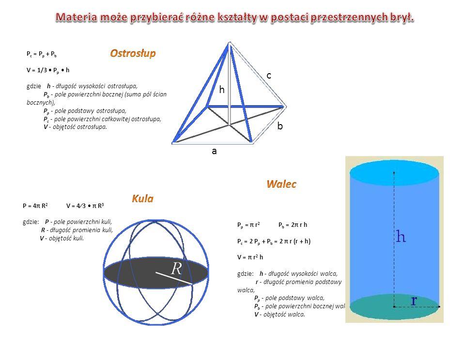 P c = P p + P b V = 1/3 P p h gdzie h - długość wysokości ostrosłupa, P b - pole powierzchni bocznej (suma pól ścian bocznych), P p - pole podstawy os