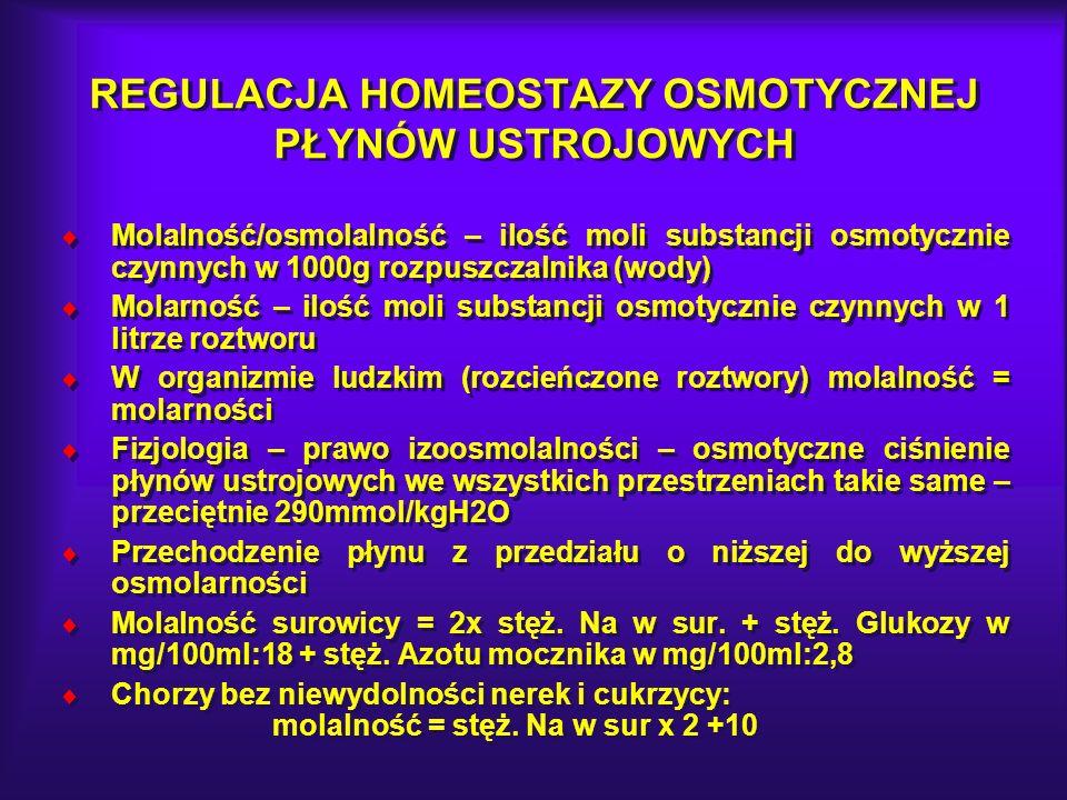 Efektywna molalność (toniczność) = 2xNa + glukoza (mg/dl):18 Nagła hipertonia płynu pozakomórkowego – istotne odwodnienie komórek Przewlekła hipertonia – odwodnienie komórek z wyjątkiem erytrocytów i mózgu (idiogenne substancje ograniczające – ograniczenie odwodnienia komórek) Nagła hipertonia płynu pozakomórkowego – istotne odwodnienie komórek Przewlekła hipertonia – odwodnienie komórek z wyjątkiem erytrocytów i mózgu (idiogenne substancje ograniczające – ograniczenie odwodnienia komórek)