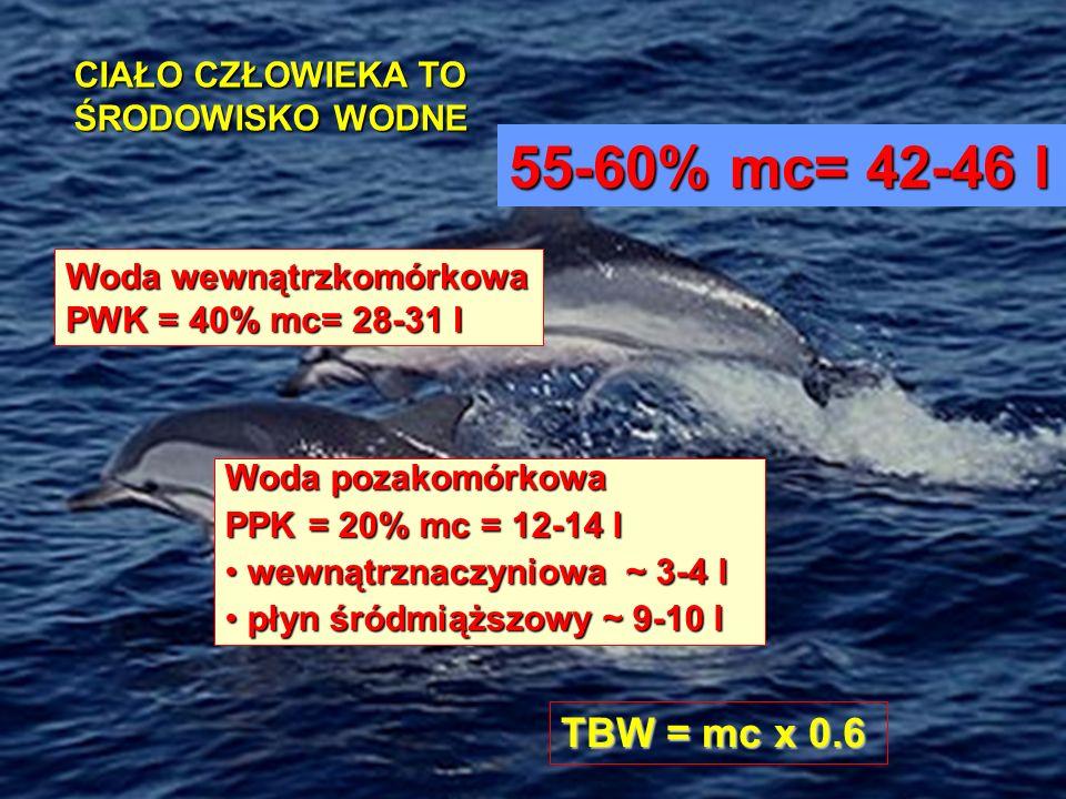 CIAŁO CZŁOWIEKA TO ŚRODOWISKO WODNE 55-60% mc= 42-46 l Woda wewnątrzkomórkowa PWK = 40% mc= 28-31 l Woda pozakomórkowa PPK = 20% mc = 12-14 l wewnątrz
