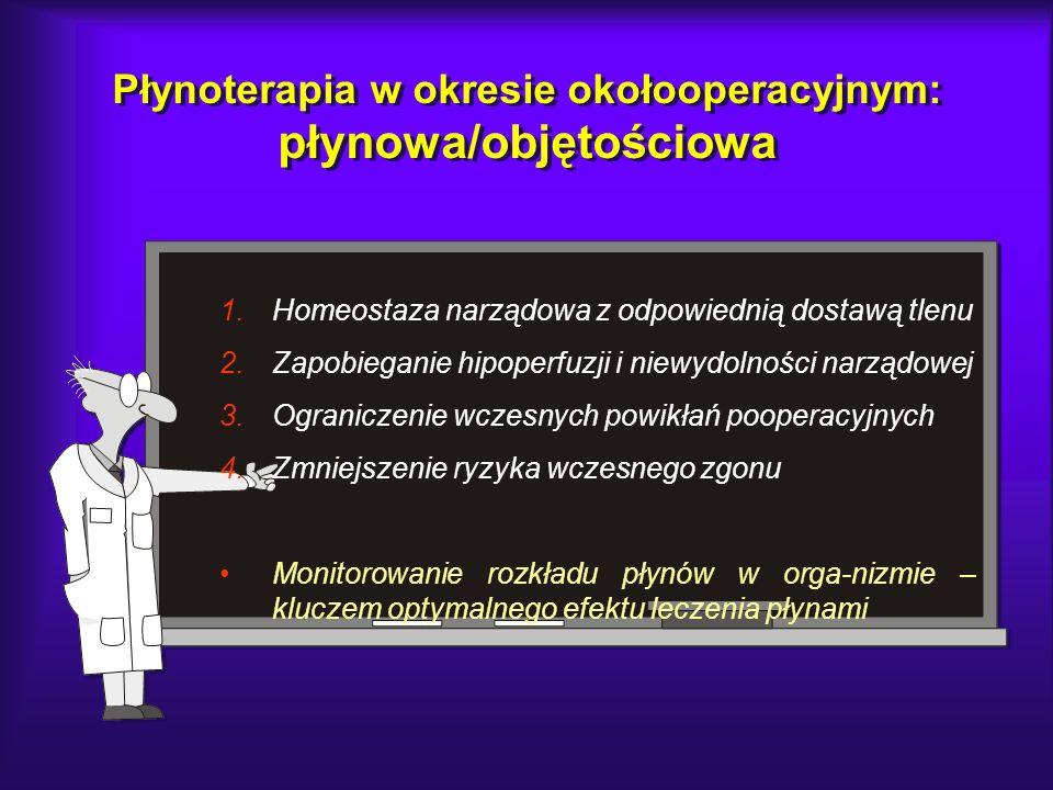 Płynoterapia w okresie okołooperacyjnym: płynowa/objętościowa 1.Homeostaza narządowa z odpowiednią dostawą tlenu 2.Zapobieganie hipoperfuzji i niewydo