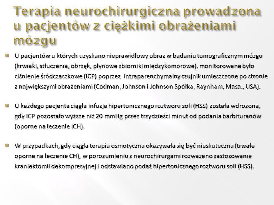 U pacjentów u których uzyskano nieprawidłowy obraz w badaniu tomograficznym mózgu (krwiaki, stłuczenia, obrzęk, płynowe zbiorniki międzykomorowe), monitorowane było ciśnienie śródczaszkowe (ICP) poprzez intraparenchymalny czujnik umieszczone po stronie z największymi obrażeniami (Codman, Johnson i Johnson Spółka, Raynham, Masa., USA).