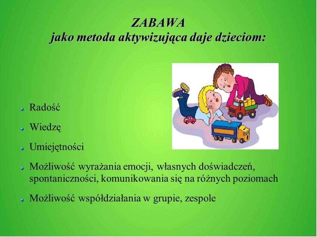 ZABAWA jako metoda aktywizująca daje dzieciom: Radość Wiedzę Umiejętności Możliwość wyrażania emocji, własnych doświadczeń, spontaniczności, komunikow