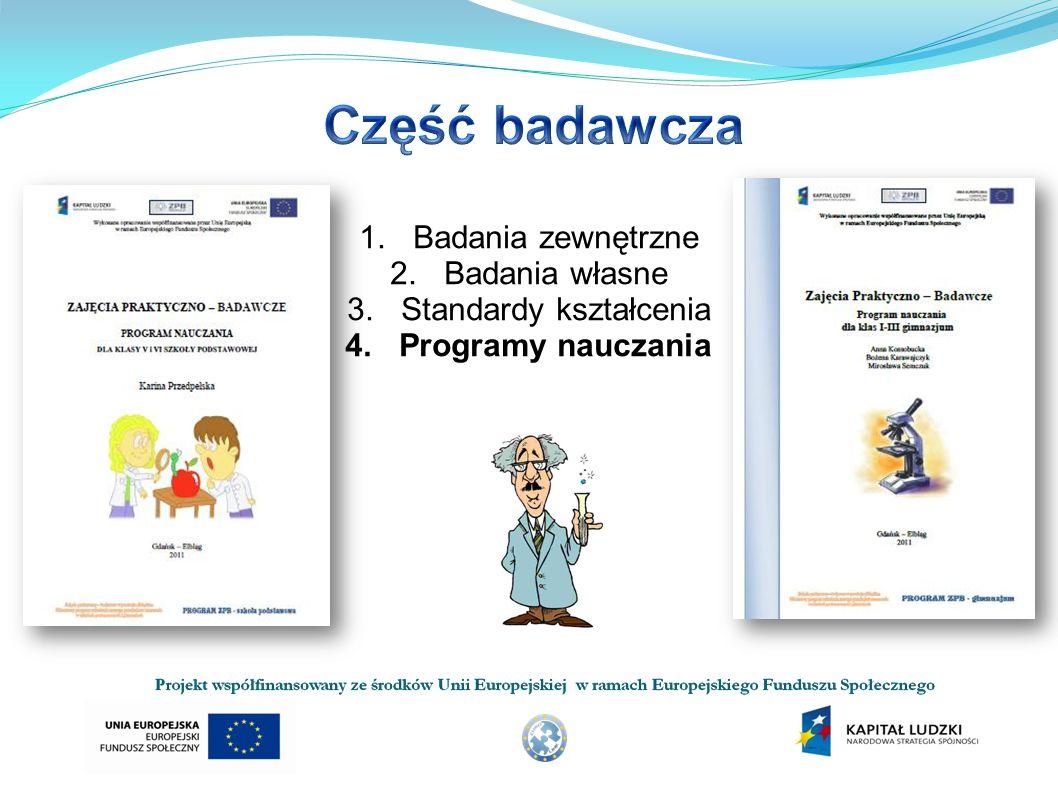 1.Badania zewnętrzne 2.Badania własne 3.Standardy kształcenia 4.Programy nauczania