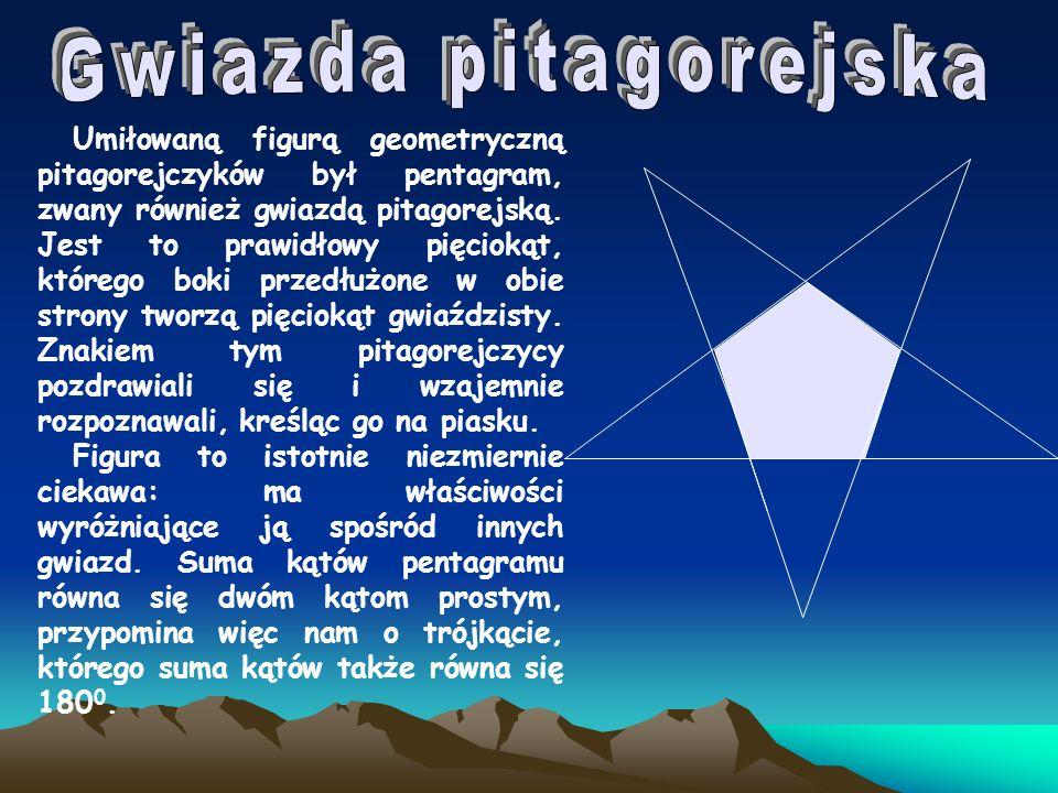 Umiłowaną figurą geometryczną pitagorejczyków był pentagram, zwany również gwiazdą pitagorejską. Jest to prawidłowy pięciokąt, którego boki przedłużon